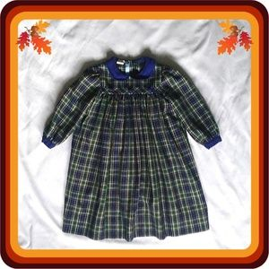 Blue & Green Plaid Pleated Empire Waist Dress